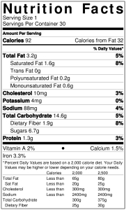 Chocolate Cherry Oatmeal Cookie NutritionLabel